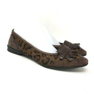 Born Womens Brown Print Ballet Flat Loafers Size 8